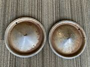 Set Of 2 Vintage Cone Style Baby Moon Wheel Hubcap Wheel Covers. Rusty