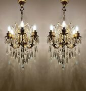 Pair Of 2 Antique Chandelier, With 6 Arms Crystal Vintage Chandelier, Lighting