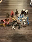 Vintage Lot 40 Cowboys And Indians Plastic Toy Figures Teepees Canoe Wagons