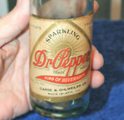 Rare Straight Side Paper Label Dr. Pepper Bottle  Rock Island, Ill. Nice