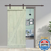 Z Bar Series 42 In. X 84 In. Solid Sage Green Stained Pine Wood Interior Sliding