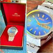 Orient Chrono Ace Vintage Day Date Shell Dial Automatic Mens Watch Auth Works