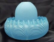 Stunning Blue Nailsea 3 Pc Fairy Lamp/light W/clarke's Insert In Crimped Bowl