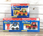 Vintage Fisher Price Little People Police Car Fire Truck Tow Truck 2381-83 Rare