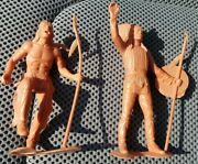 Marx Vintage Native American Indian Warriors Figures 6 Inch 1964 Lot Of 2