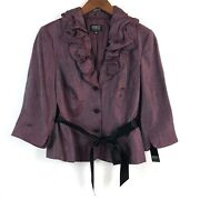 Adrianna Papell Evening Essentials Jacket 12 Purple Beaded Buttons Rayon