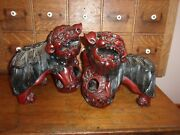 Hand Carved Puzzle Ball Foo Dog Lion Mid Century Red Laquer Pair