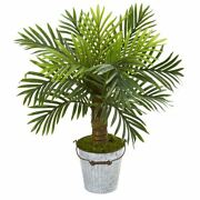 Multicolor 27 Robellini Palm Artificial Tree In White Washed Vintage Metal Pail