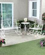 Outdoor Metal Rocking Bench Chair And Table Patio Deck Porch Sun Room 2 Colors