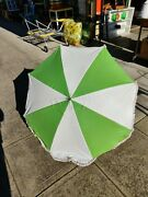 Vintage Beach Chair Table Clamp Clip On 45 Umbrella W/ Fringe Retro Lime Green