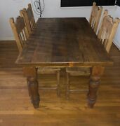 Solid Antique Pine Dining Table And Chairs Rustic Handcrafted Farmhouse Tavern