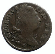 1782 Ireland Uk King George Iii Antique Lyre Vintage Old 1/2 Penny Coin I95906
