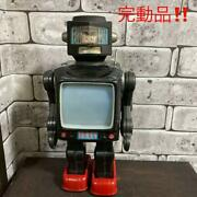 Horikawa 30 Cm Tin Plate Television Robot Astronauts Made In Japan Antique Used
