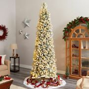 Multicolor 10and039 Slim Flocked Montreal Fir Artificial Christmas Tree With 800 Warm