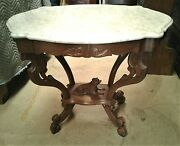 Antique Walnut Victorian Marble Top Parlor Table W Carved Dog 1870s