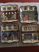 Kate Mc Rostie Set Of 4 Plates French Boulevard Cafe Bistro Street Store Fronts