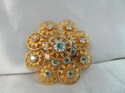 Vtg Textured Gold And Aurora Borealis Stones Dimensional Flower Design Brooch Pin