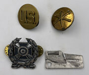 Vintage Us Army Pins Badge C Ration Can Opener Militaria Lot Of Four 4 Pieces