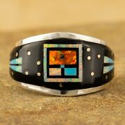 Native American Sterling Silver Multi Stone Inlay Ring Size 10.75 Signed G