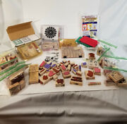 Huge Stampin' Up Wood Mount Rubber Stamps And Pads Many Retired Pieces Lot Gs0359
