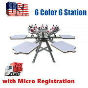 Usa 6 Color 6 Station Silk Screen Printing Press Machine With Micro Registration