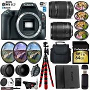 Canon Eos Rebel Sl2 Dslr Camera And 18-135mm Is Usm Lens And 55-250mm Is Ii Lens + U