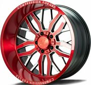 22x12 Axe Compression Forged Red Brushed Wheels 1.2 Jeep 5x5 5x127 Dodge 5x5.5
