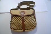 Barbour - Cotton Canvas Bag With Leather Trim And Netted Front -made In England