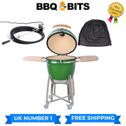 Kamado Bbq 21 Grill Rotisserie And Cover Smoker Ceramic Egg Charcoal Green