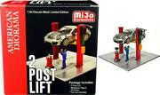 Two Post Lift Red With Mechanic Figurine And Oil Drainer Diorama Set For 1/64