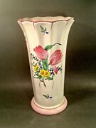 Large French Fluted Vase Luneville Floral Faience Tulips And Roses