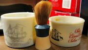 Lot Of 2 Vintage Old Spice Shaving Mugs With Ever Ready Brush