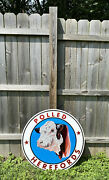 Huge Polled Herefords Double Sided Metal Sign Cow Breeding Cattle Stock Gas Oil