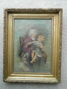 Antique 19th Century Oil On Canvas Painting Of A Grandfather And Granddaughter