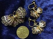 One And Only Antique Edwardian Silver Butterfly Set Stamped 800 Silver/ 5,000+