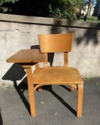 Vintage Mcm Thonet Bent Ply School Chair And Desk Large And Nice With Label 1950s