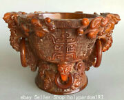 8 Marked Old Chinese Ox Horn Dynasty Dragon Elephant Drinking Vessel Wine Cup