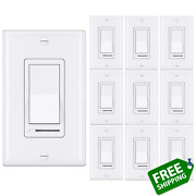 [10 Pack] Bestten Dimmer Light Switch Single-pole Or 3-way 120v Compatible Wi