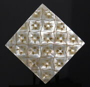 Antique Button Large Carved And Engraved Square Oyster Pearl Shell W Stars Nice