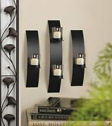 Chic Black Iron Glass Contemporary Wall Candleholder Sconce Trio