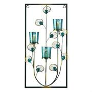 Blue Iron Glass Plastic Peacock Three Candle Wall Sconce Indoor Decor