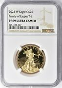2021-w Type 1 25 Gold Eagle Proof 1/2oz Ngc Pf69 T-1