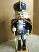 Holiday Wooden Nutcracker Soldier W/ Staff Cape Crown 12 Beautiful Face Look