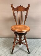 Antique The Charles Parker Co. Piano/organ Stool Claw And Glass Ball Feet