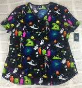 Halloween The Nightmare Before Christmas Womenand039s Medical Scrub Top Nwt