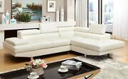 White Bonded Leather Sectional Sofa Set Living Room Furniture 2pc Tufted Couch