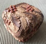 Russian Hand Carved Linden Wood Trinket Box Ash Berries And Leaves