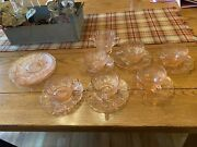 Pink Depression Glass - Cherry Blossom - Jeanette - 16 Pieces