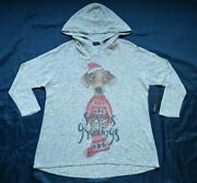 Inoah Womens Size S Christmas New Year Hooded Sweater Heather Grey Made In Usa
