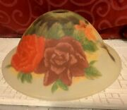 Hand Painted Frosted Glass Lamp Light Shade Flowers Floral Roses Hummingbirds
